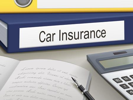 seguros autos: aglutinantes de seguros de coche aislados en la mesa de oficina