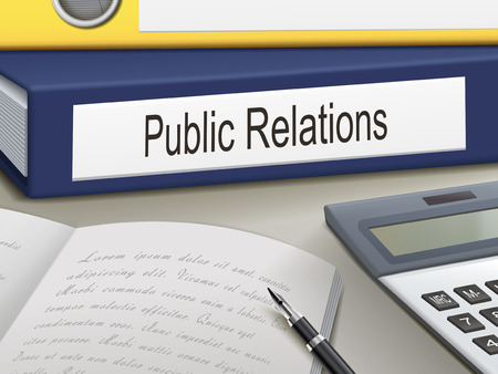 public folder: public relations binders isolated on the office table Illustration