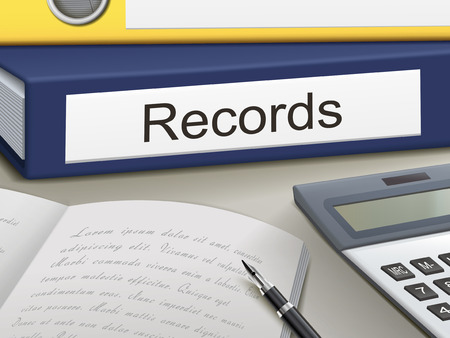 on records: records binders isolated on the office table