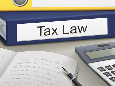 tax law binders isolated on the office table