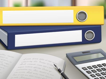 office leeg binders opstapelen op tafel Vector Illustratie
