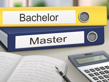 bachelor: bachelor and master binders isolated on the office table Illustration