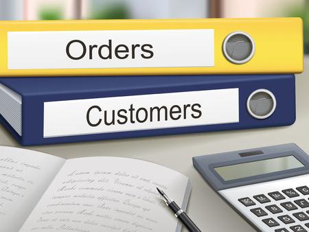 オフィスのテーブルに分離された注文と顧客のバインダー