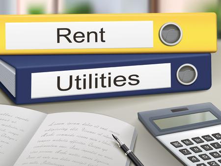 utilities: renta y servicios carpetas aislados en la mesa de la oficina Vectores