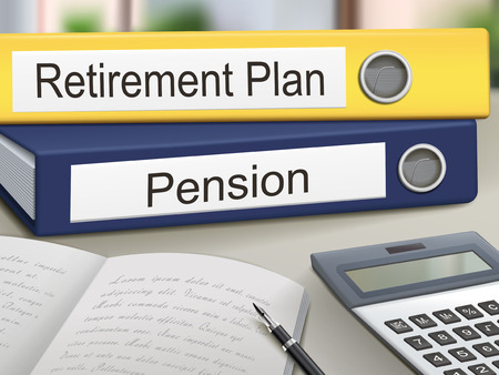 retirement savings: retirement plan and pension binders isolated on the office table