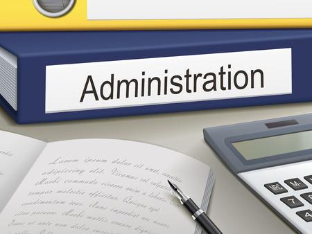 administracion de empresas: aglutinantes administración aislados en la mesa de la oficina