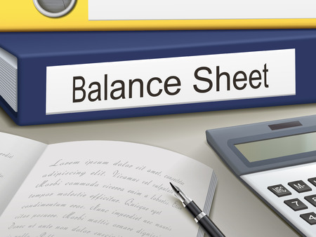 cash flow: balance sheet binders isolated on the office table