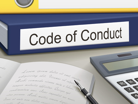 conduct: code of conduct binders isolated on the office table