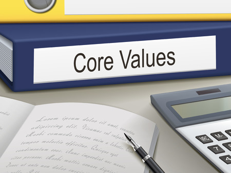 core values binders isolated on the office table