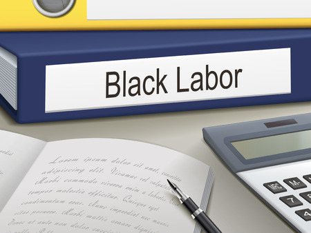 illegally: black labor binders isolated on the office table