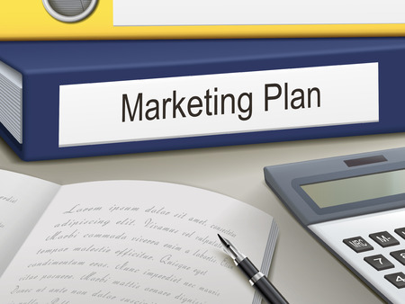 market research: marketing plan binders isolated on the office table