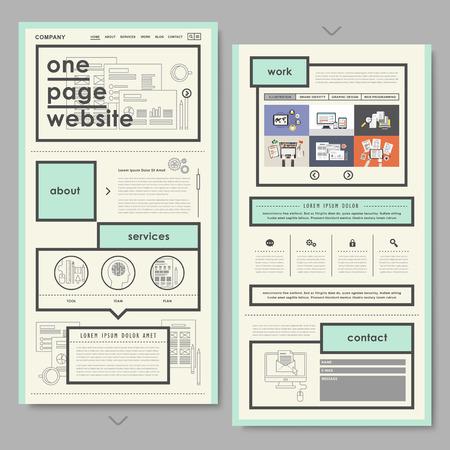 フラットでレトロなドキュメント スタイル 1 ページのウェブサイトのデザイン