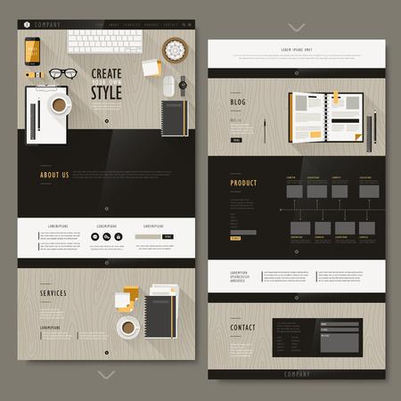 website: modern workplace scene one page website design in flat design