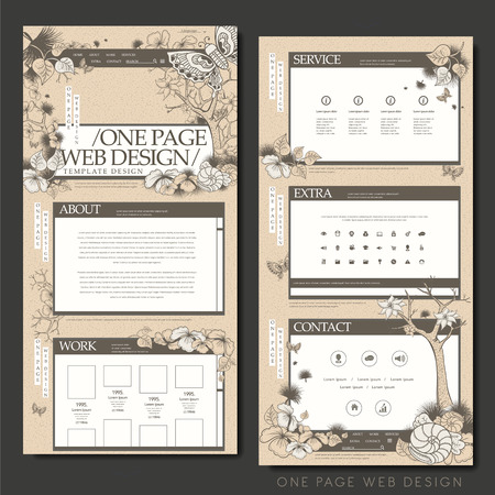 trees services: vintage one page website design template with floral and butterflies