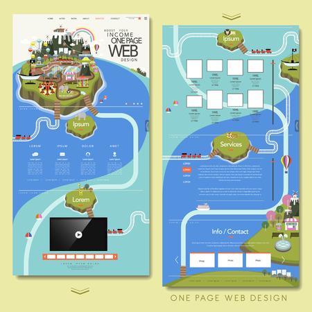 mooie één pagina website ontwerp sjabloon met eiland elementen