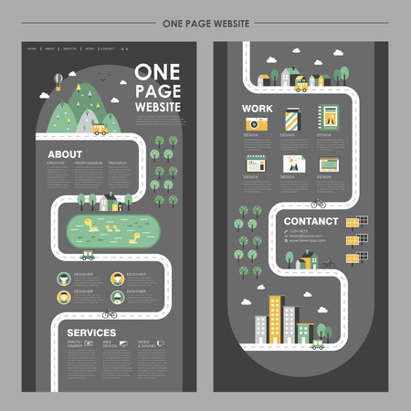 adorable one page website design in flat design 일러스트