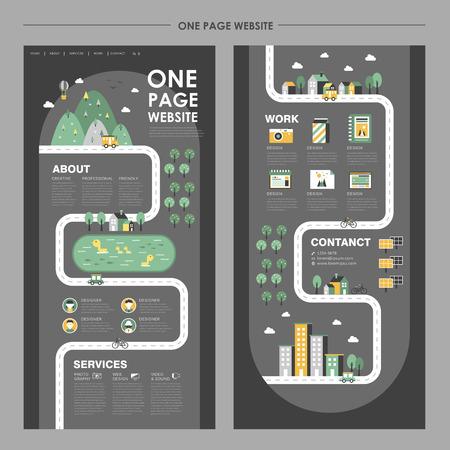 adorable one page website design in flat design Illustration
