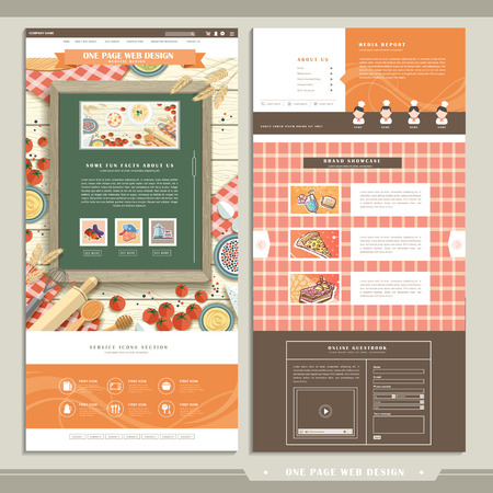 web design elements: cuisine concept one page website design template in flat design