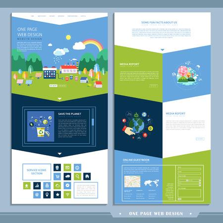 ecology one page website design in flat design Vector