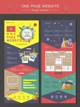 kleurrijke reistijd begrip één pagina website ontwerp sjabloon in vlakke stijl