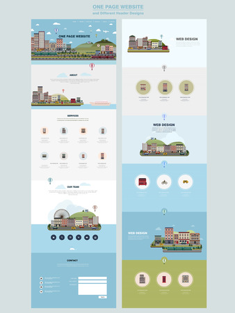 colorful country scenery one page website design template in flat style