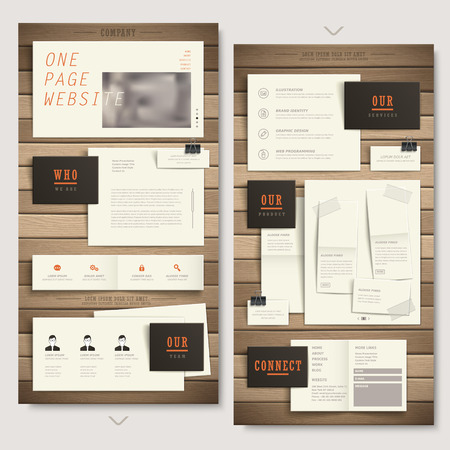 creative one page website design with paper and wooden texture elements