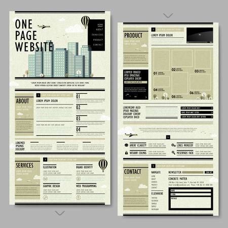 page layout: retro newspaper style one page website design