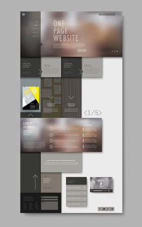 one: trendy one page website design with blurred background