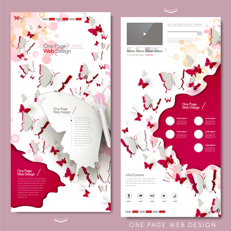 paper cut: elegant butterflies paper cut one page website design in red