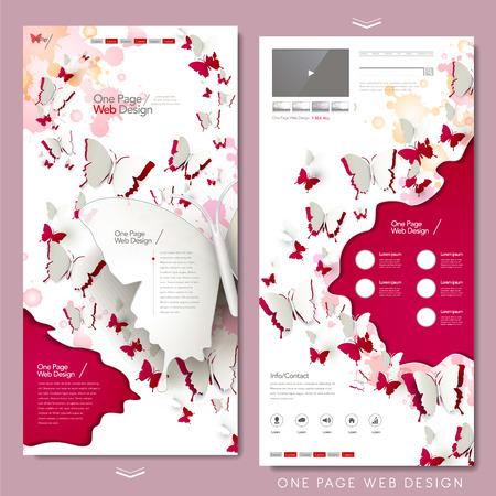 elegant butterflies paper cut one page website design in red