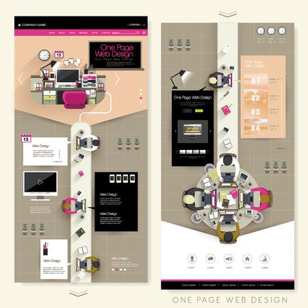 sjabloon: creatieve werkplek één pagina website design template Stock Illustratie