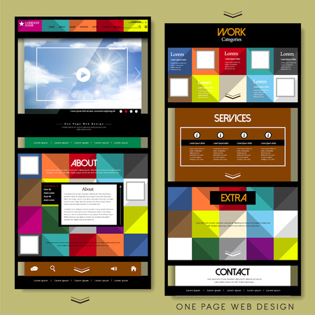 template: geometric style one page website design template