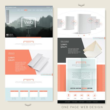 シンプル 1 つのページのウェブサイト デザイン テンプレート ブランク品
