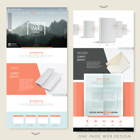 page layout: simplicity one page website design template with blank product Illustration