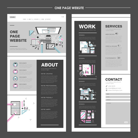 industry design: creative one page website design in flat design