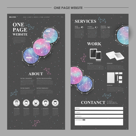 web: modern one page website design with geometric elements