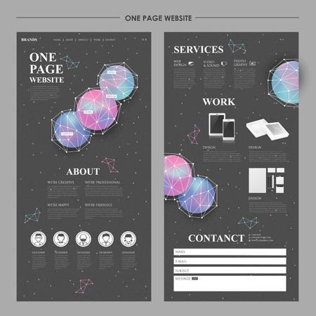 moderne één pagina website ontwerp met geometrische elementen Stock Illustratie