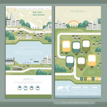 sjabloon: ecologie één pagina website ontwerp in platte ontwerp Stock Illustratie