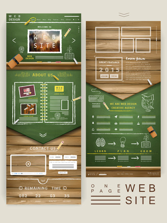 web design template: creative one page website design with chalkboard and wooden wall elements