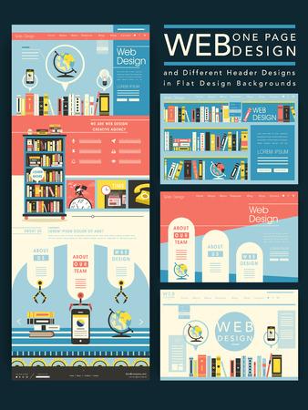 mooie één pagina website ontwerp in platte ontwerp