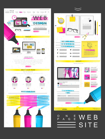 template: simplicity one page website design with colorful highlighters elements