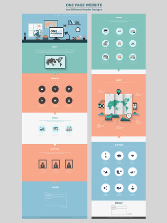 simplicity: simplicity one page website design template in flat style