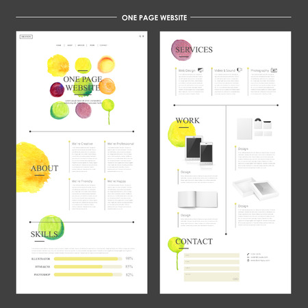 modern watercolor style one page website design 일러스트