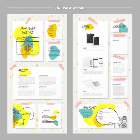 product design: adorable colorful style one page website design