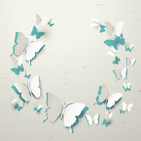 elegant 3d paper butterflies pattern cut-out background