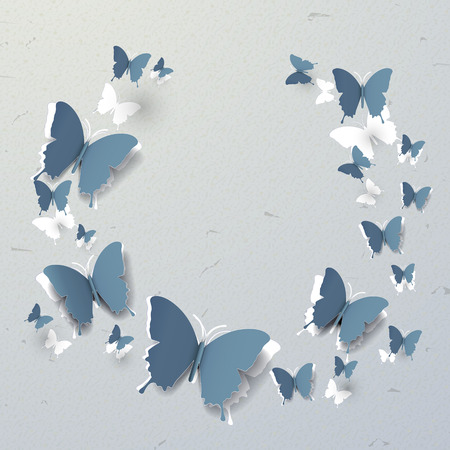 paper cut out: elegant 3d paper butterflies pattern cut-out background