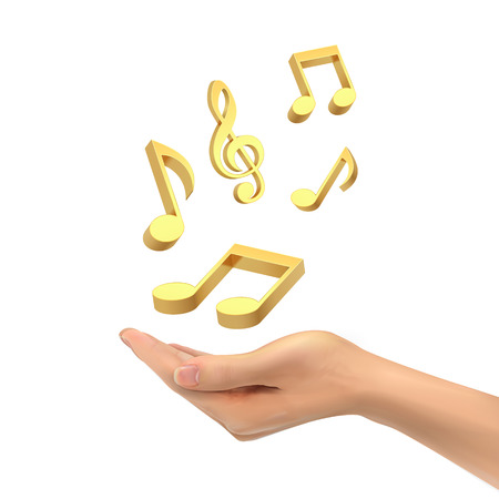 3d hand holding music notes over white background 向量圖像