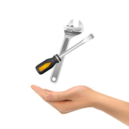 instrumentation: 3d hand holding tools over white background