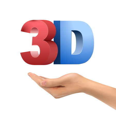 3d dimensional: realistic hand holding 3D word over white background