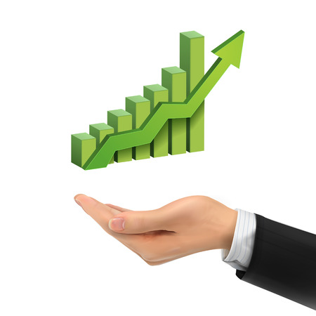 bar tool: 3d hand holding bar graph with rising arrow over white background